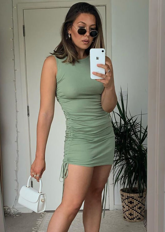 Drawstring Side Ruched Mini Dress Green