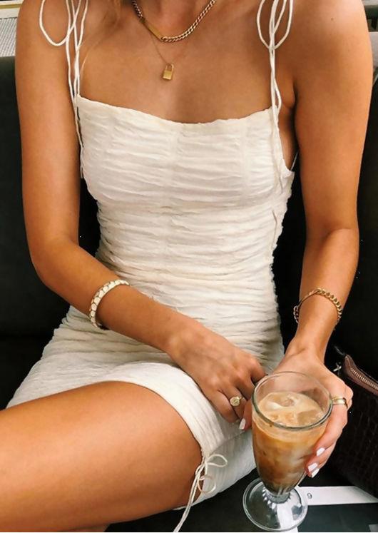 Drawstring Tie Ruched Mini Dress White