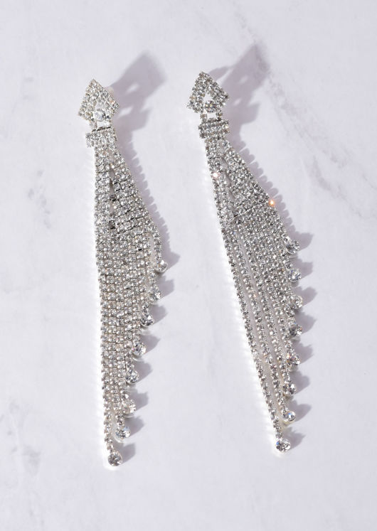 Drop Chain Diamante Statement Earrings Silver