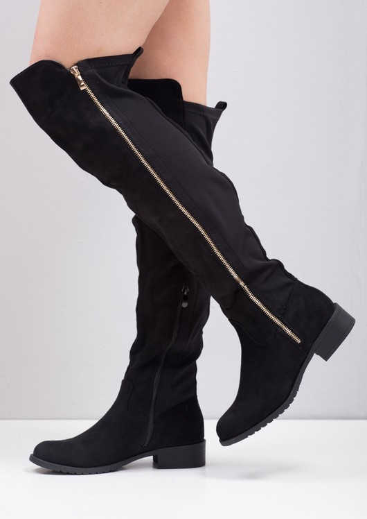 Duo Zip Knee High Flat Long Boots Suede with Elasticated Panel Black