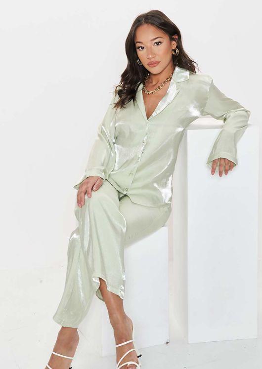 Elasticated Button Down Pyjamas Blazer Loose Fit Pants Co Ord Set Green