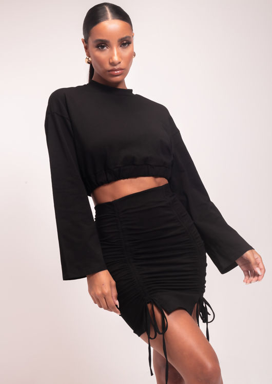Elasticated Crop Top And Ruched Mini Skirt Co-Ord Set Black