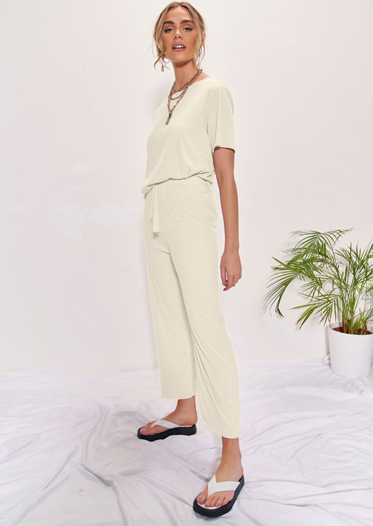 Oversized T-Shirt Top And High Waisted Pants Co-Ord Set Beige