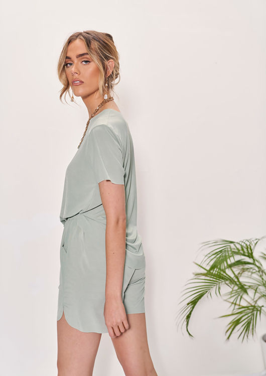 Oversized T-Shirt Top And High Waisted Shorts Co-Ord Set Green