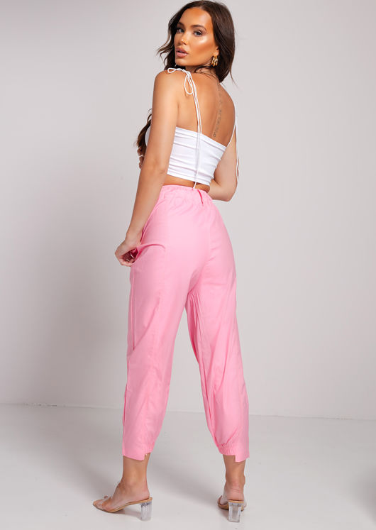 Relaxed Utility Cargo Trousers Pants Pink