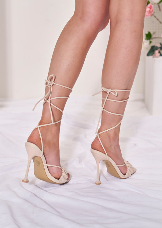 Ruched Front Lace Up Heeled Mule Sandals Beige