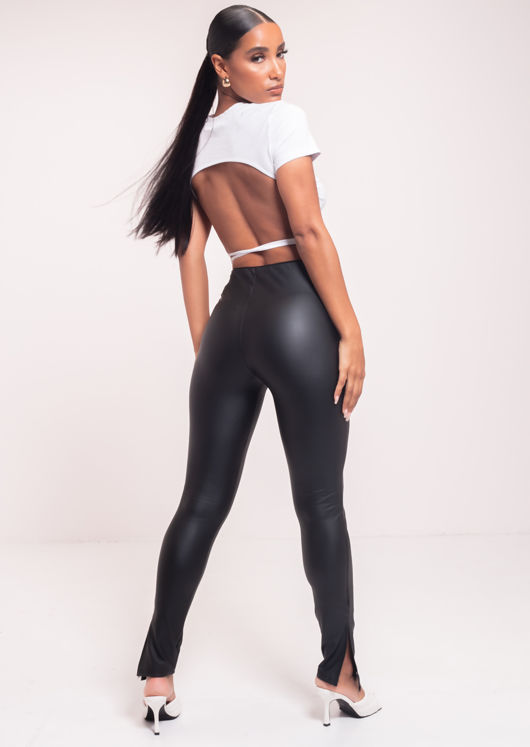 Elasticated High Waisted Split Pu Legging Pants Black