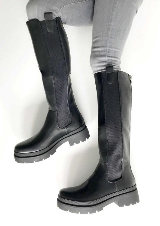 Elasticated Knee High Length Chelsea Boots Black