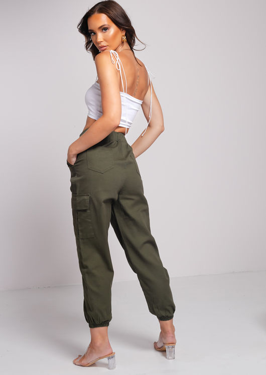 Elasticated Waistband Utility Cargo Pants Green