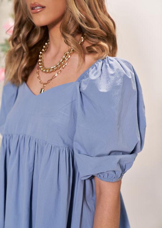 Elasticated Oversized Puff Sleeved Mini Smock Dress Blue