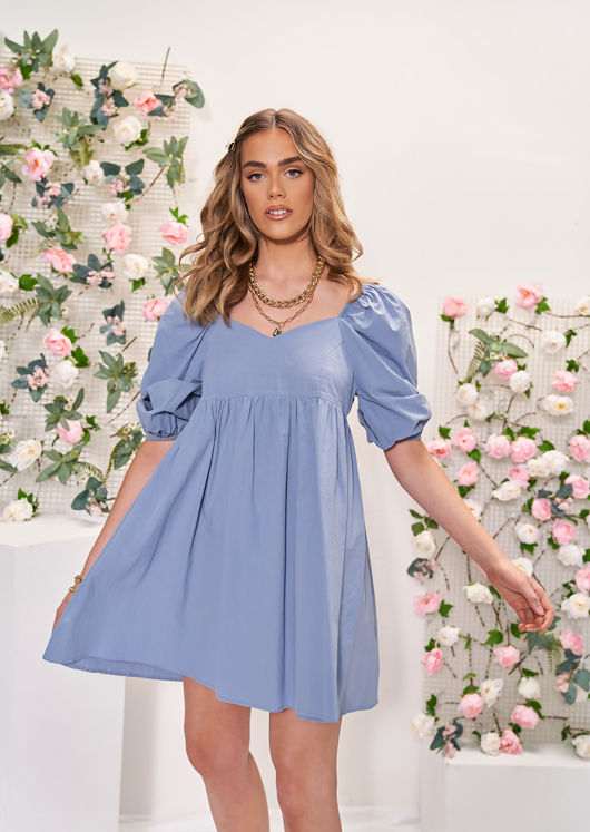 Elasticated Oversized Puff Sleeved Mini Smock Dress Blue