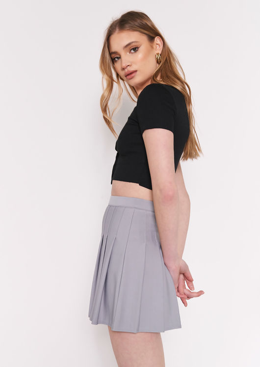 Elasticated Waist Pleated Stitched Lined Mini Skirt Grey
