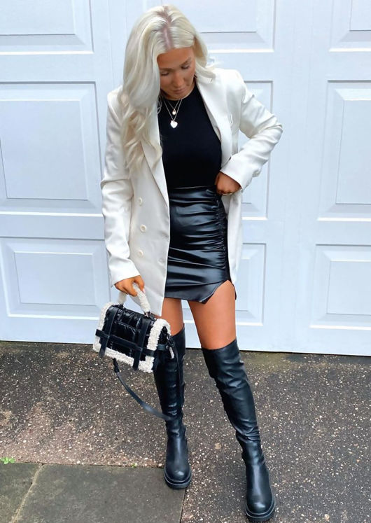 Pu Faux Leather Cleated Chunky Over The Knee Boots Black