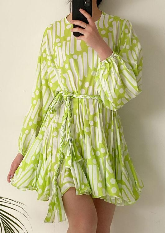 Oversized Puffy Sleeved Braided Waist Belt Patterned Mini Dress Green