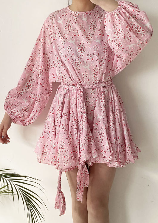 Oversized Puffy Sleeved Braided Waist Belt Mini Floral Dress Pink