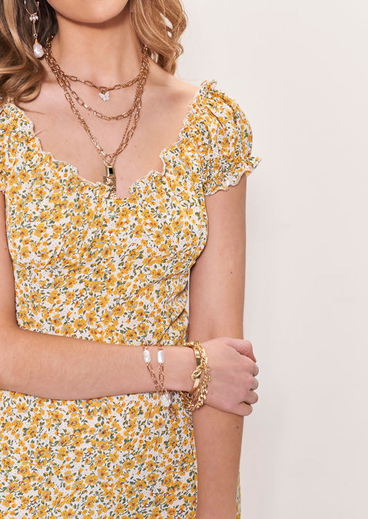 Short Sleeve Shirred Front Frilled Floral Patterned Midi Dress Yellow