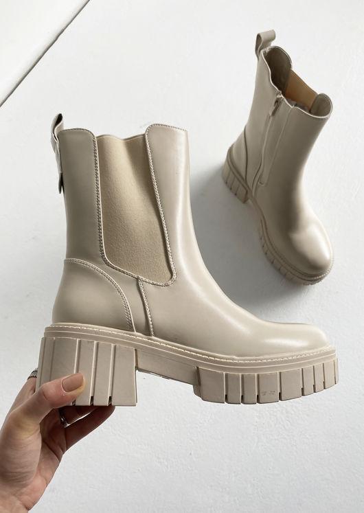 Elasticated Side Mid Calf Chelsea Boots Beige
