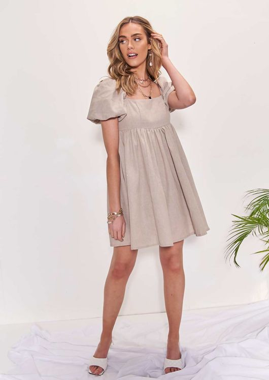 Elasticated Square Neckline Puff Sleeved Mini Dress Beige