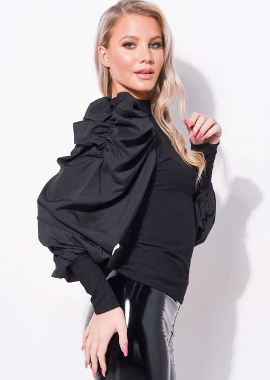 Puff Long Sleeve Ruched Shirt Top Black