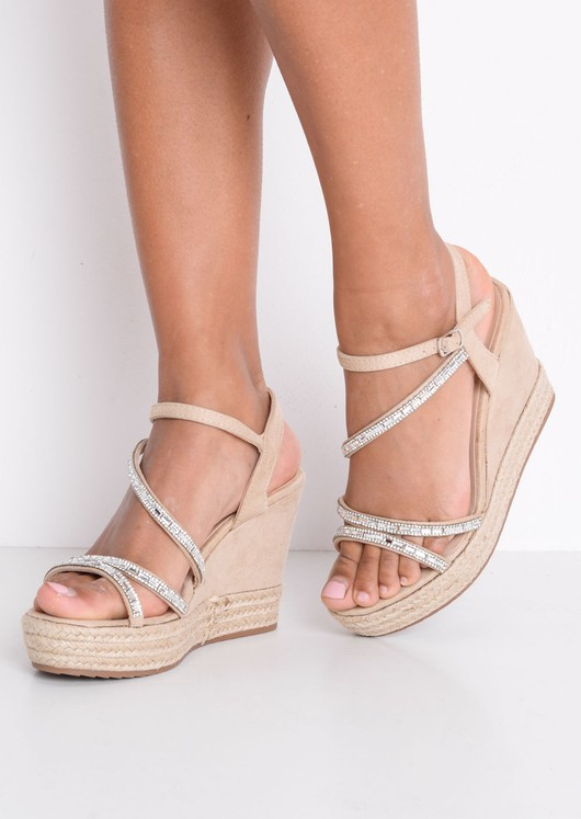 Embellished Diamante Braided Cork Espadrille Wedge Sandals Beige
