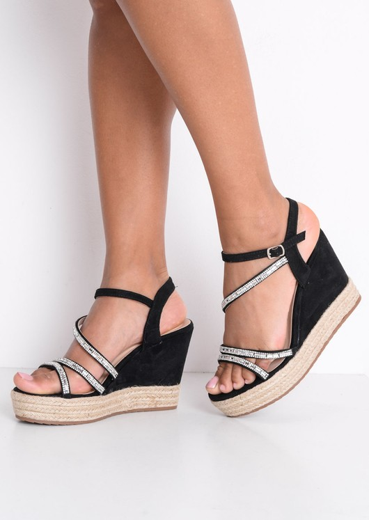 Embellished Diamante Braided Cork Espadrille Wedge Sandals Black