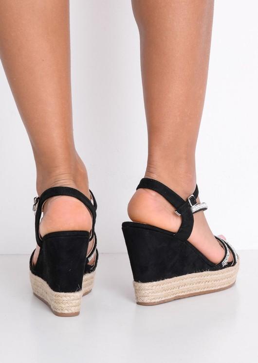 EmbellishedDiamante Braided Cork Espadrille Wedge Sandals Black