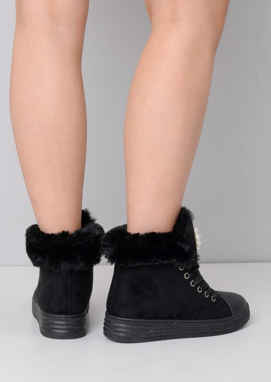 Embellished Pearl & Diamante Faux Fur Lined Hi-Top Ribbon Trainers Black