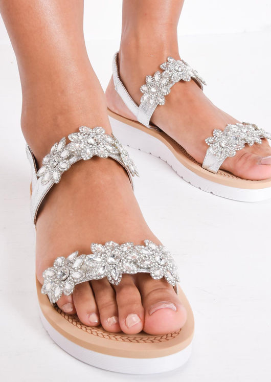 Embellished Low Wedge Sandals Silver