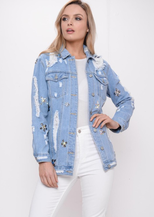Embellished Oversized Distressed Denim Jacket Blue