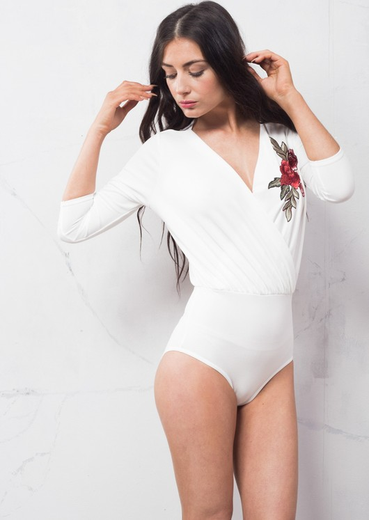 Embroidered Floral Wrap Over Bodysuit White