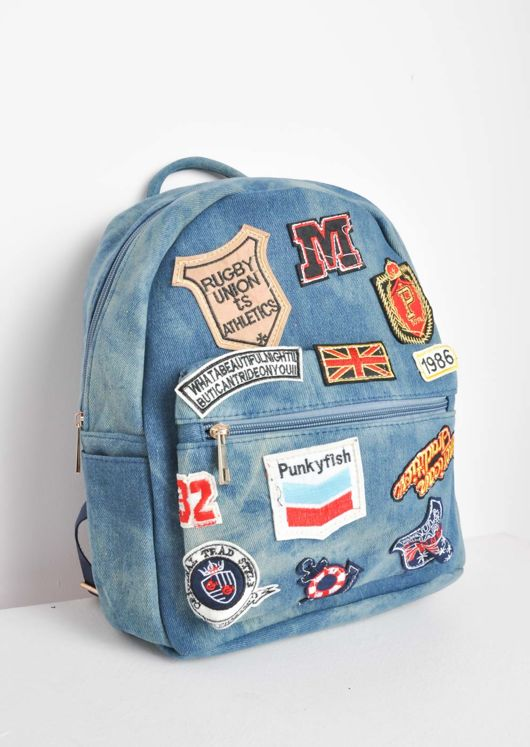 Embroidered Patches Denim Backpack Blue
