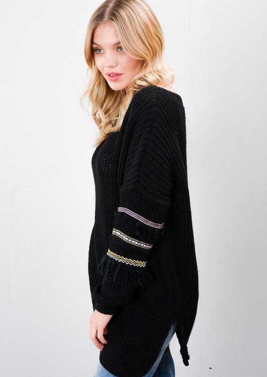 Multi Colour Fringe Embroidered Sleeve Oversized Long Jumper Black