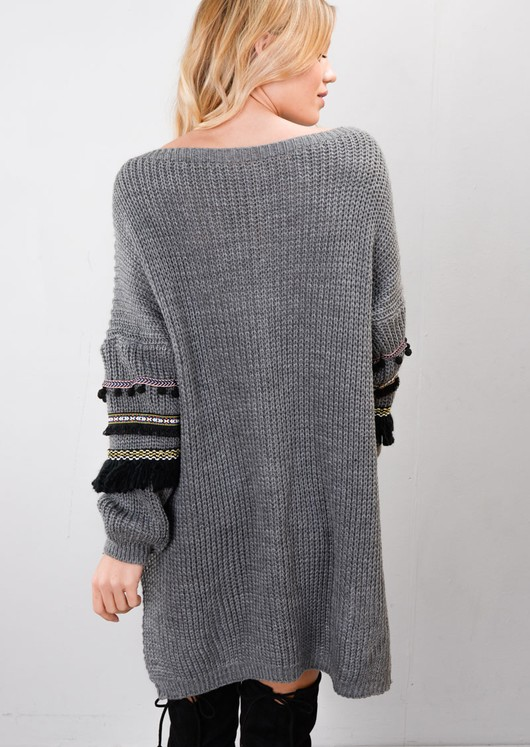 Multi Colour Fringe Embroidered Sleeve Oversized Long Jumper Grey