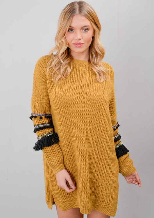 Multi Colour Fringe Embroidered Sleeve Oversized Long Jumper Mustard Yellow