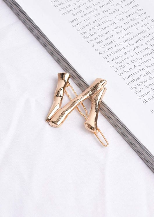 Engraved Alphabet Letter Hair Slide Gold