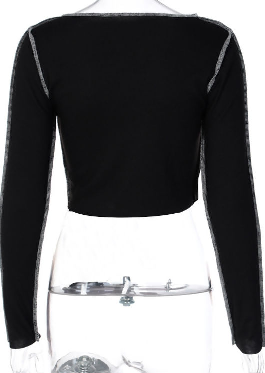 Exposed Seam Ribbed Front Lace Up Long Sleeve Crop Top Black