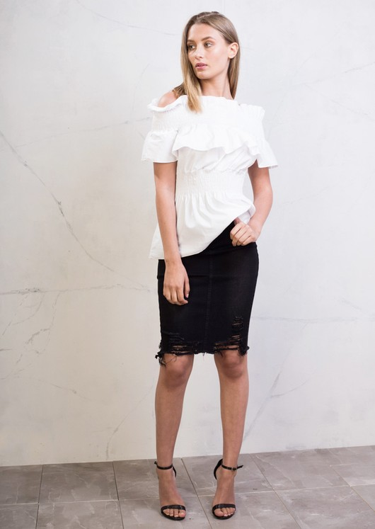 Extreme Ripped Midi Bodycon Denim Skirt Black