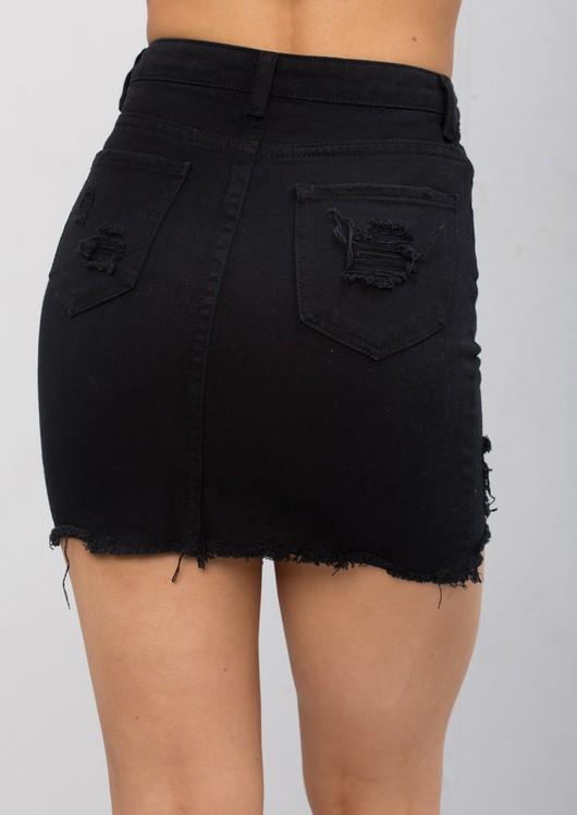 Extreme Ripped Mini Bodycon Denim Skirt Black
