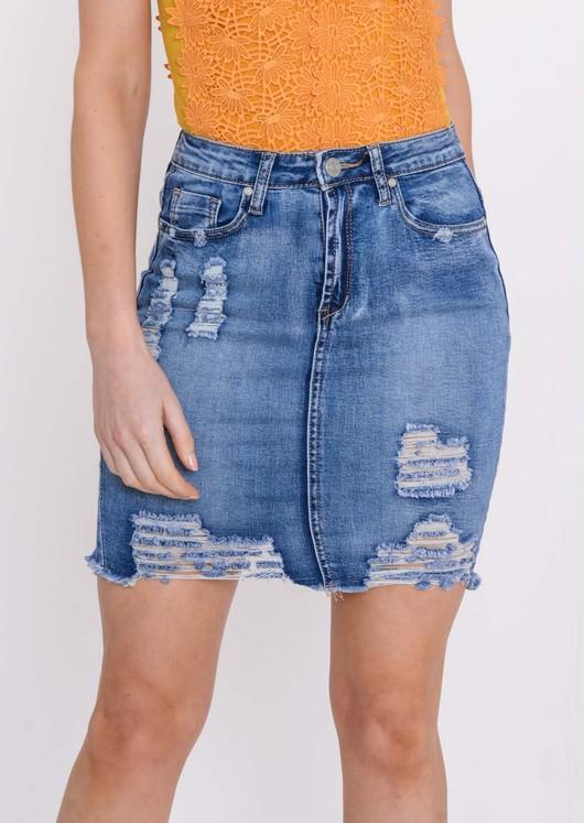 Extreme Ripped Mini Bodycon Denim Skirt Light Blue