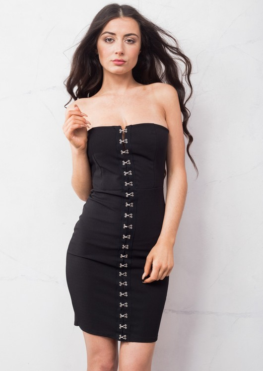 Eyelet Bandeau Mini Dress Black