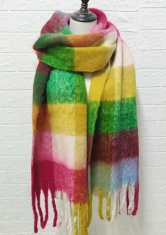 Multi Checked Wool Fringe Scarf Red