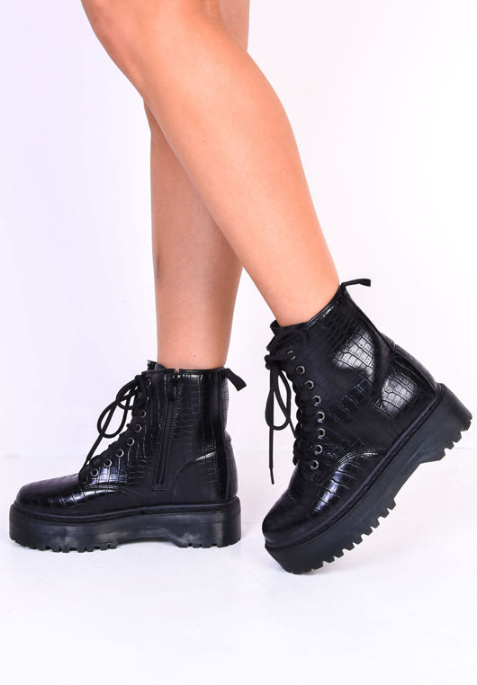 Faux Croc Lace Up Platform Combat Ankle Boots Black