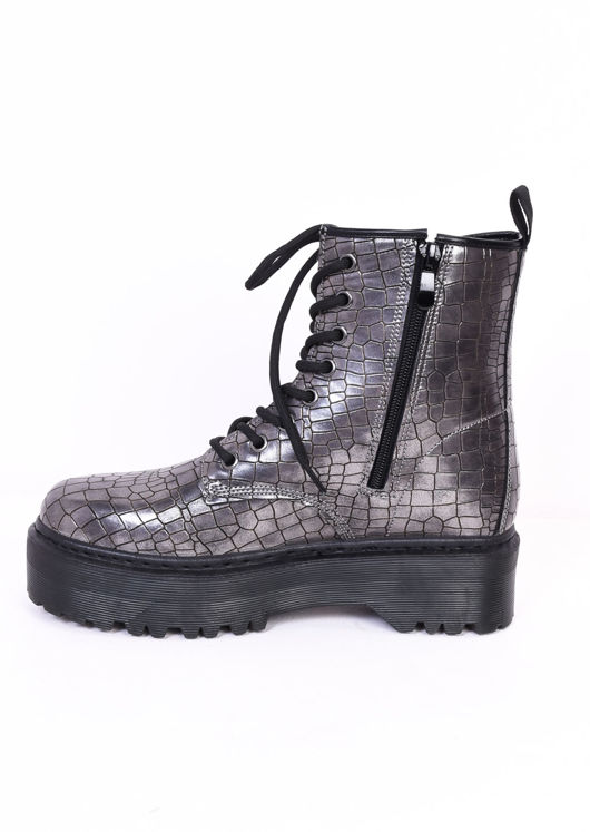 Faux Croc Lace Up Platform Combat Ankle Boots Silver Grey