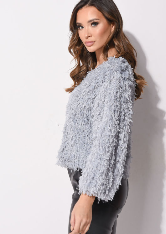 Faux Feather Cropped Fluffy Tassel Top Grey