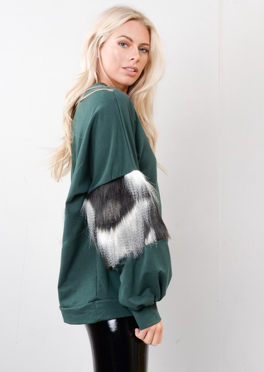 Faux Fur Balloon Sleeve Jumper Green