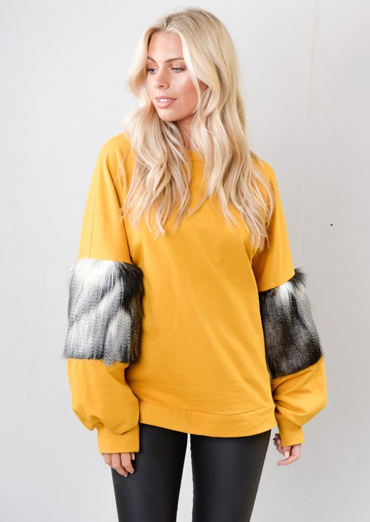 Faux Fur Balloon Sleeve Jumper Mustard Yellow