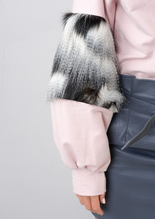 Faux Fur Balloon Sleeve Jumper Pink