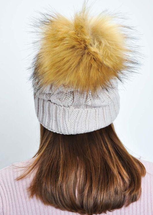 Faux Fur Bobble Knitted Fleece Lined Hat Beige  fdb208577c3