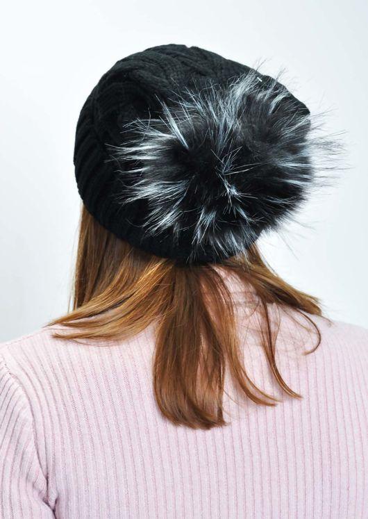 Faux Fur Bobble Knitted Fleece Lined Hat Black
