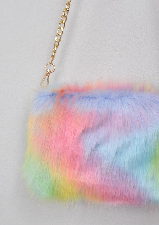 Faux Fur Chain Clutch Bag Multi